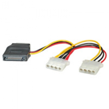 ROLINE Internal Y-Power Cable, SATA to 3x 4-pin HDD