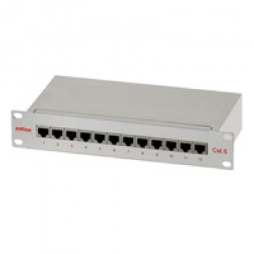 "ROLINE Cat.6 10"" Patch Panel, 12 Ports, STP grey"