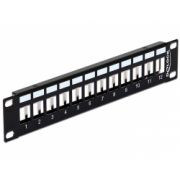 Delock 10″ Keystone Patch Panel 12 Port metal black