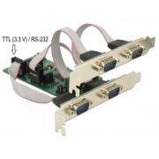 Delock PCI Express Card > 3 x Serial RS-232 + 1 x TTL 3.3 V / RS-232 with voltage supply