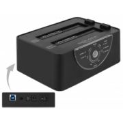 Delock USB 3.0 Dual telakointiasema 2 x SATA HDD / SSD with Clone and Erase Function in Metal Housing