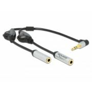 Delock Audio Splitter 3.5 mm uros - 2 x stereo 3.5 mm uros 3 pin + Volume control, kulma