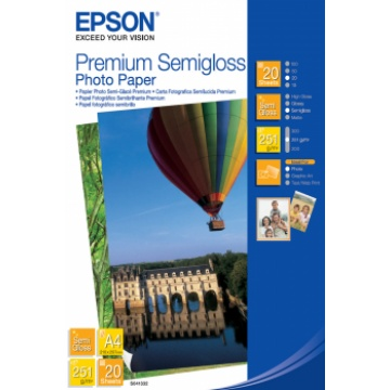 Epson Premium Semi-Gloss Photo Paper - A4 - 20 arkkia