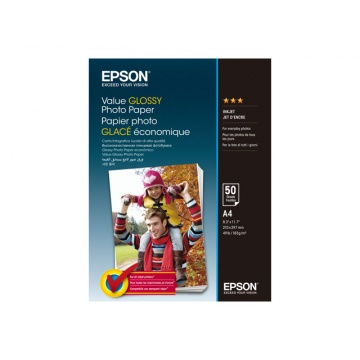 Epsonin Value Glossy Photo paperi A4 183 g/m², 50kpl