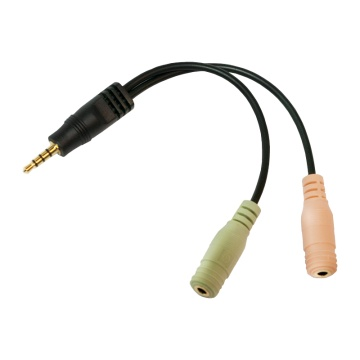 Audio adapteri, 4-pin, 3.5 mm stereo uros - 2x 3.5 mm naaras