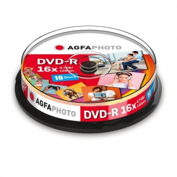 AgfaPhoto DVD-R 4,7GB 16x Speed, Cakebox 10 kpl