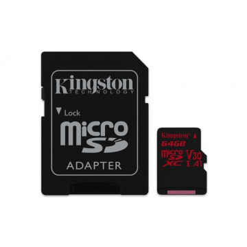 Kingston Canvas React 64GB microSDXC 100R/80W U3 USH-I V30