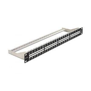 Delock 19″ Keystone Patch Panel 48 Port 1 U black