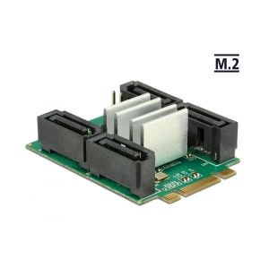 Converter M.2 Key B+M male > Hybrid 4 x SATA 7 pin male with RAID